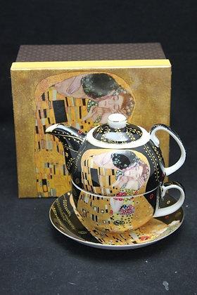 """Gustav Klimt Tee for One """"Der Kuss"""" schwarz Porzellan mit Geschenkbox"""