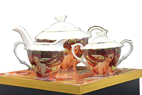 Alfons Mucha Tee- Kaffee Set 3teilig Porzellan Motiv Der Tanz