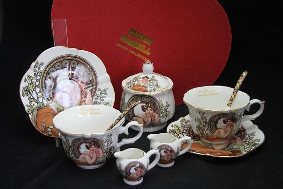 Tee- Kaffeeservice Alfons Mucha 9teilig Porzellan Motiv Ruby