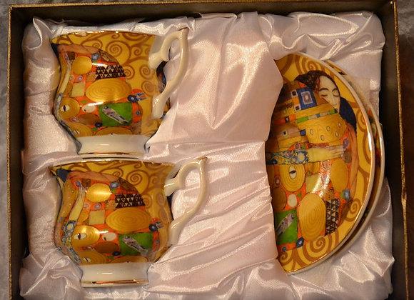 """Gustav Klimt Tee- Kaffeetassenset """"Die Erfüllung"""" Porzellan mit Geschenkbox"""