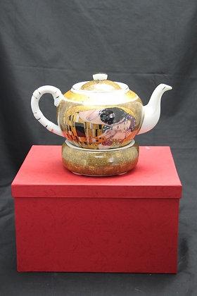 """Gustav Klimt Tee Kaffeekanne """"Der Kuss"""" beige Porzellan rund"""