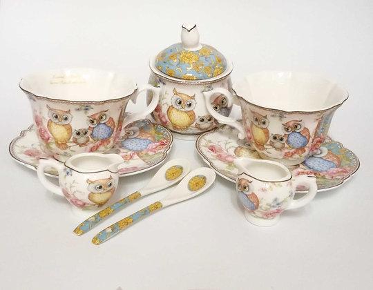 Eulen Tee- Kaffeeservice 9teilig Porzellan Motiv Eulen