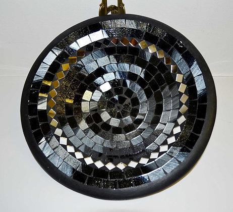Teller in Mosaiktechnik Dekoteller schwarz/silber 27cm