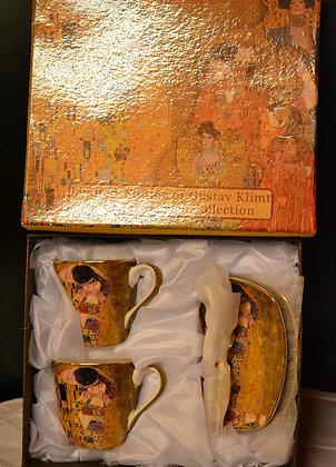 Gustav Klimt Espressotassen Der Kuss 6teilig Beige, Porzellan