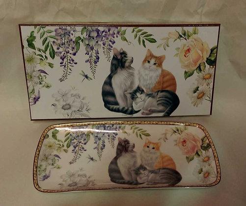 Dessertteller Porzellan mit Katzenmotiv inkl. Geschenkbox
