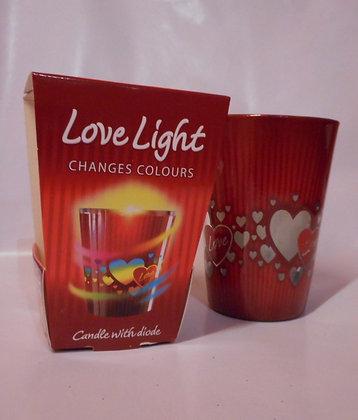 Kerze im Glas mit Herzmotiv und Diode