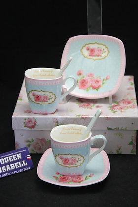 """Tee-Kaffeetassenset """"Zartblau"""" Porzellan mit Geschenkbox 6teilig"""