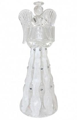 Teelichthalter Engel Glas mit Schmucksteinchen 20cm