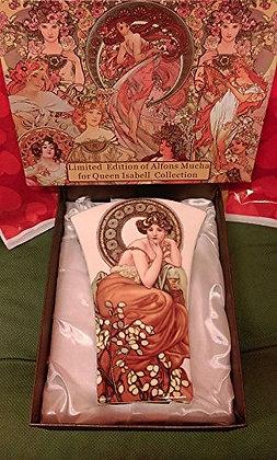 """Alfons Mucha Blumenvase """"Ruby"""" weiss Porzellan mit Geschenkbox"""
