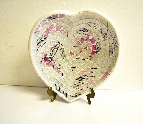 Teller in Mosaiktechnik Herzform Dekoteller Silber-Rosa 27x26cm Mosaikteller
