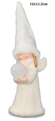 """Weihnachtsfigur """"Wichtelin"""" mit leuchtender Kugel"""