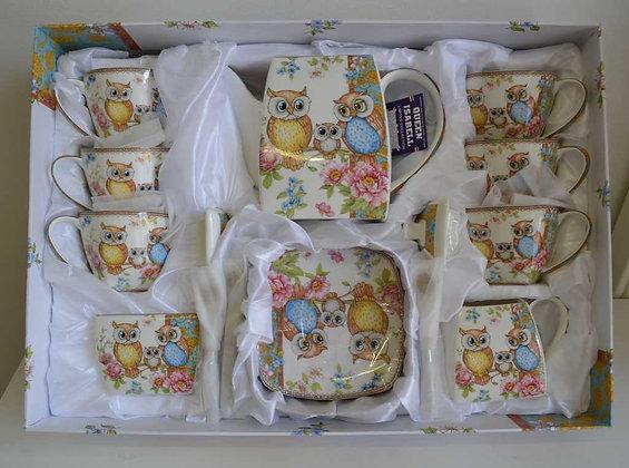Eulen 21teiliges Tee-Kaffeetassenset Neu