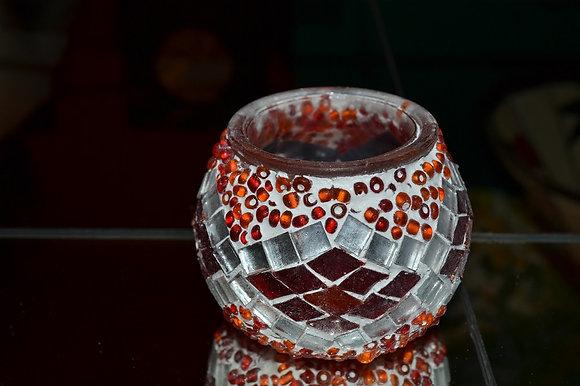 Teelicht Mosaik Orangeton handgefertigt