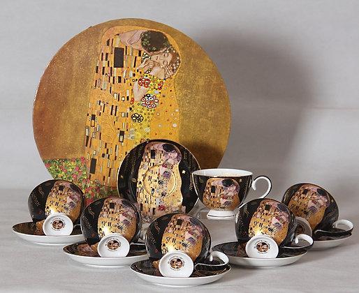Gustav Klimt Tee- Kaffeeservice 12teilig Porzellan Motiv Der Kuss schwarz