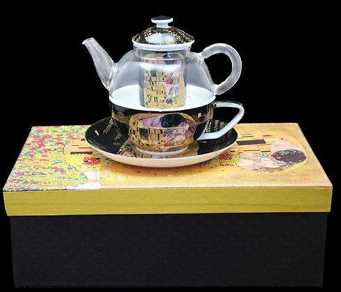 """Gustav Klimt Tee for One """"Der Kuss"""" schwarz  Glas/Porzellan mit Geschenk"""