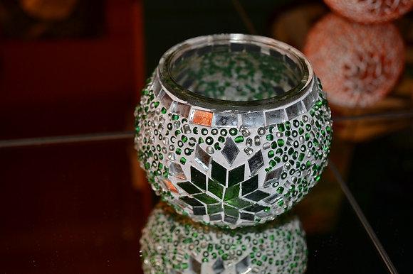 Teelicht Mosaik Grünton handgefertigt