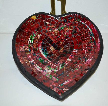 Teller in Mosaiktechnik Herzform Dekoteller Weinrot 27x26cm Mosaikteller
