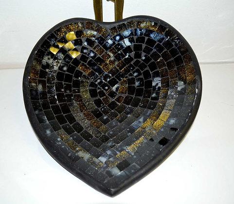 Teller in Mosaiktechnik Herzform Dekoteller Blackgold 27x26cm Mosaikteller
