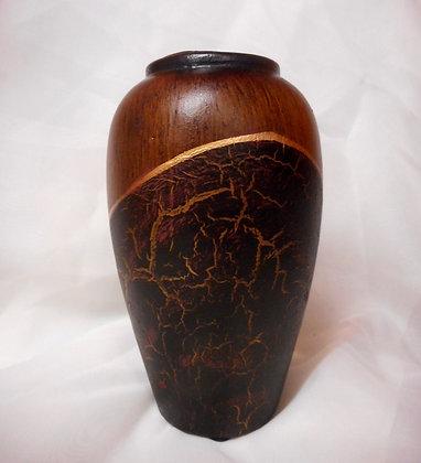 Vase in Braunton und Schwarzoptik Tischvase Keramik Höhe 16cm