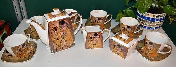 Gustav Klimt Tee- Kaffeeservice 21teilig Porzellan Motiv Der Kuss