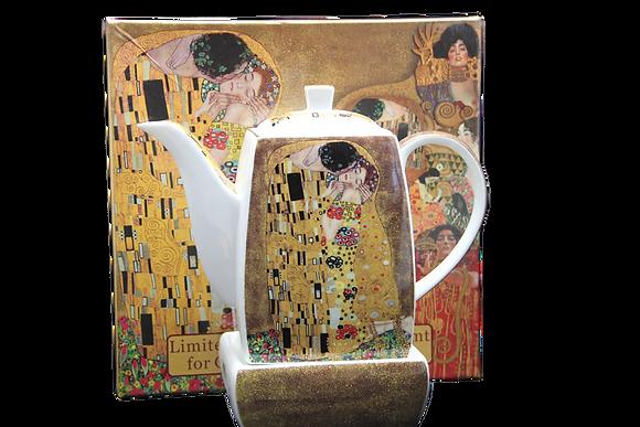 """Gustav Klimt Tee Kaffeekanne """"Der Kuss"""" Porzellan mit Geschenkbox"""