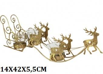 Teelichthalter Renntierschlitten goldfarbig 42cm