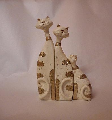 Katzentrio Familie weiss mit Glittereffekt Keramik
