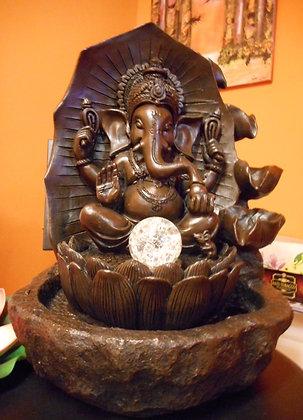Innenbrunnen Zimmerbrunnen Meditation Ganesha Wasserfall LED 42cm