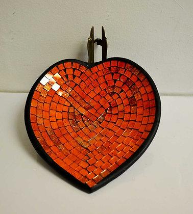 Teller in Mosaiktechnik Herzform Dekoteller Orange-Rot 27x26cm Mosaikteller