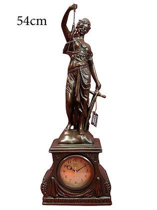 JUSTIZIA FIGUR JUSTITIA GÖTTIN DER GERECHTIGKEIT mit Quarz Uhr 54cm!