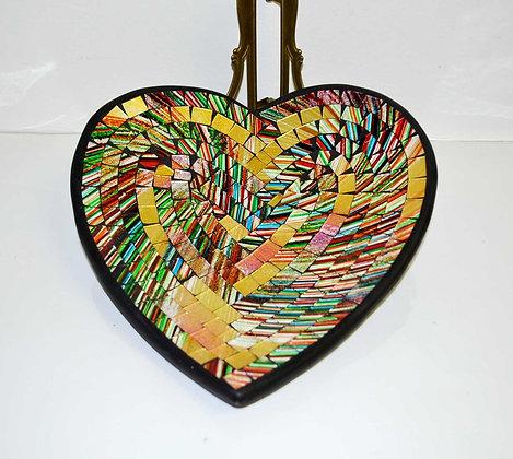 Teller in Mosaiktechnik Herzform Dekoteller Bunt 27x26cm Mosaikteller