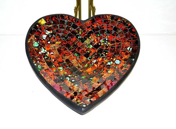 Teller in Mosaiktechnik Herzform Dekoteller Colorful-Braun 27x26cm Mosaikteller