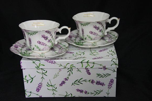 """Tee- Kaffeetassenset 4teilig """"Lavendel"""" Porzellan mit Geschenkbox"""