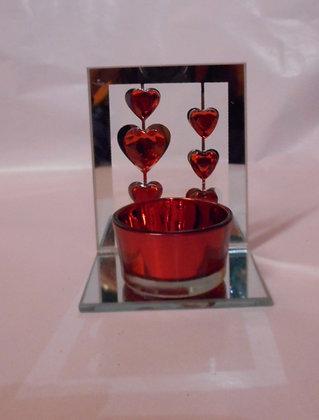 Teelichthalter Glas mit Herzdekor