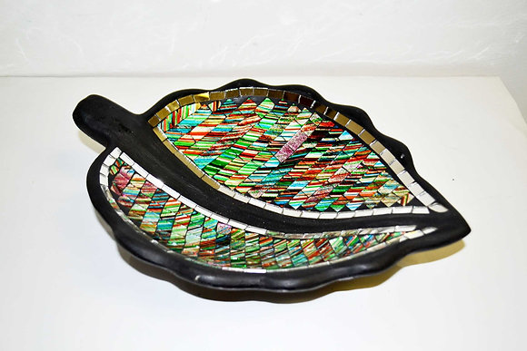 Teller in Mosaiktechnik Blattform Dekoteller Colorful Grün 35x22cm Mosaikteller
