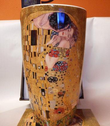 """Gustav Klimt Vase """"Der Kuss"""" 22cm beige Porzellan"""
