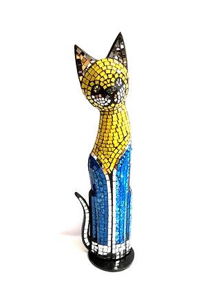 Katzenfigur in Mosaiktechnik Dekofigur Gelb/Blau 50cm Mosaik/Holz