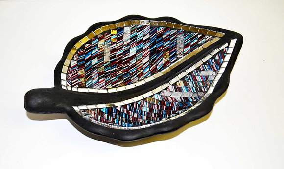 Teller in Mosaiktechnik Blattform Dekoteller Colorful Blau 35x22cm Mosaikteller