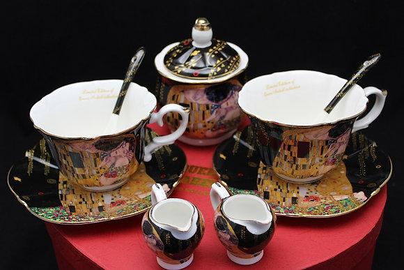 """Gustav Klimt Tee- Kaffeeservice 9teilig  schwarz Porzellan Motiv """"Der"""