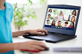 Online remote learning. High school kids