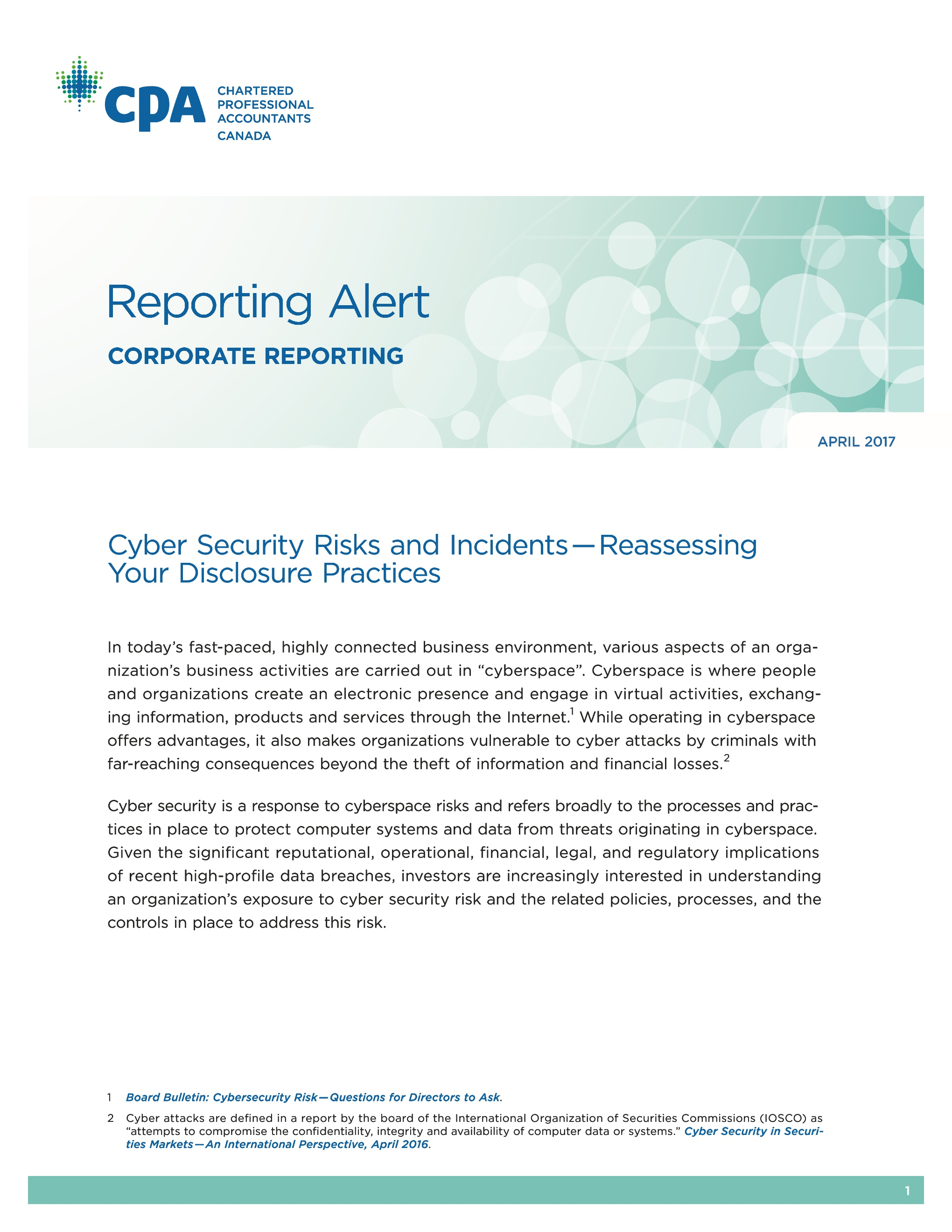 Reporting Alert: Cyber Security Risk