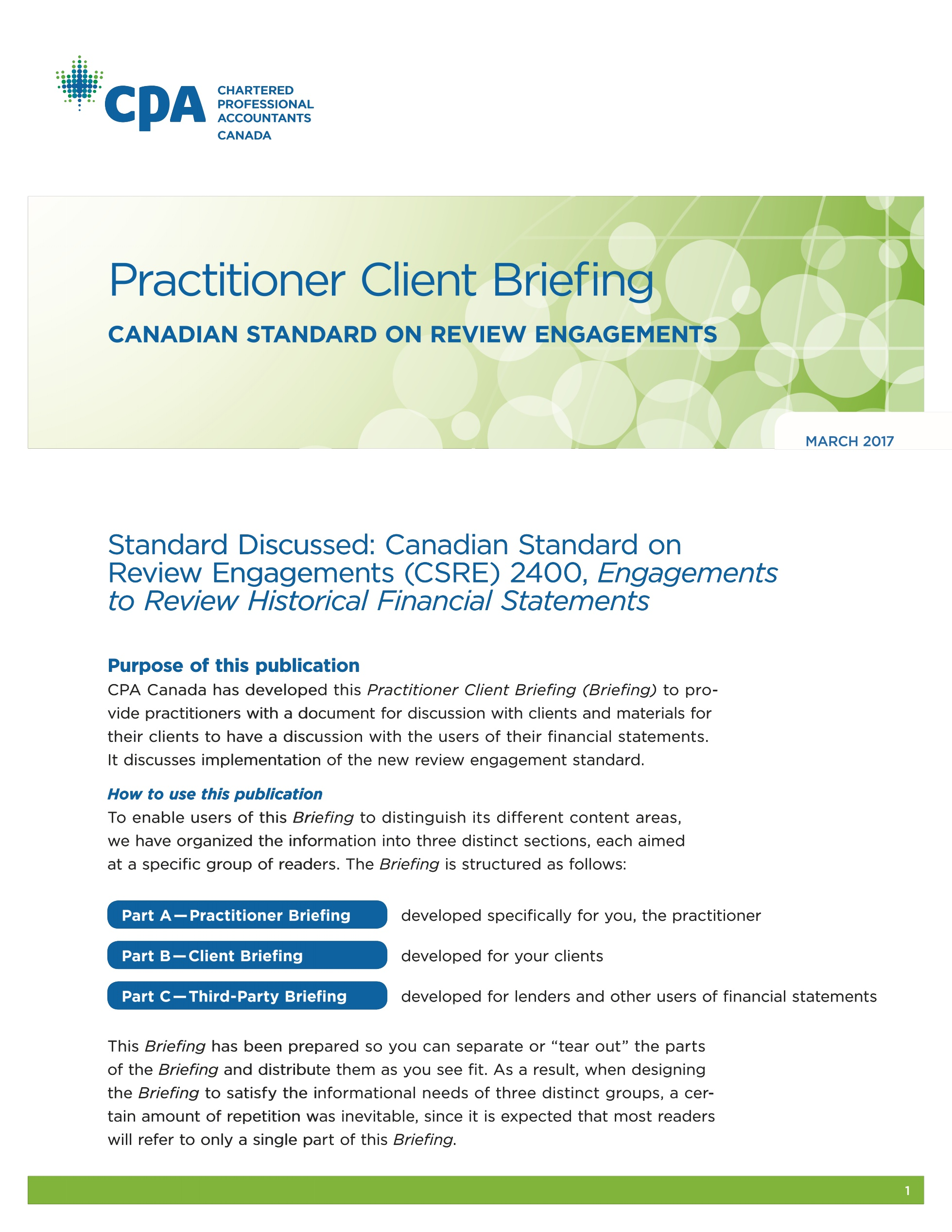 Practitioner Client Briefing: Canadi