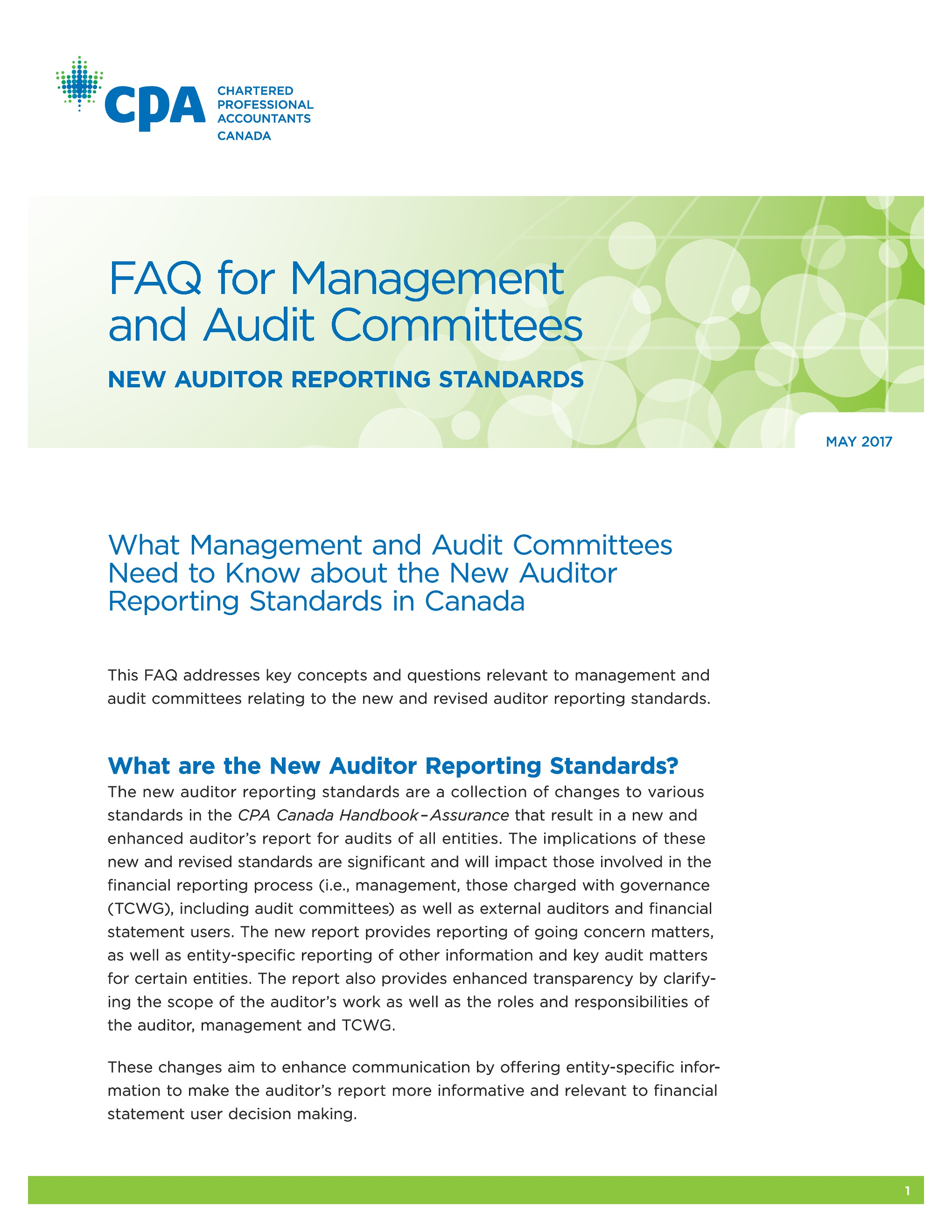 CPA Canada, FAQ for Management and A