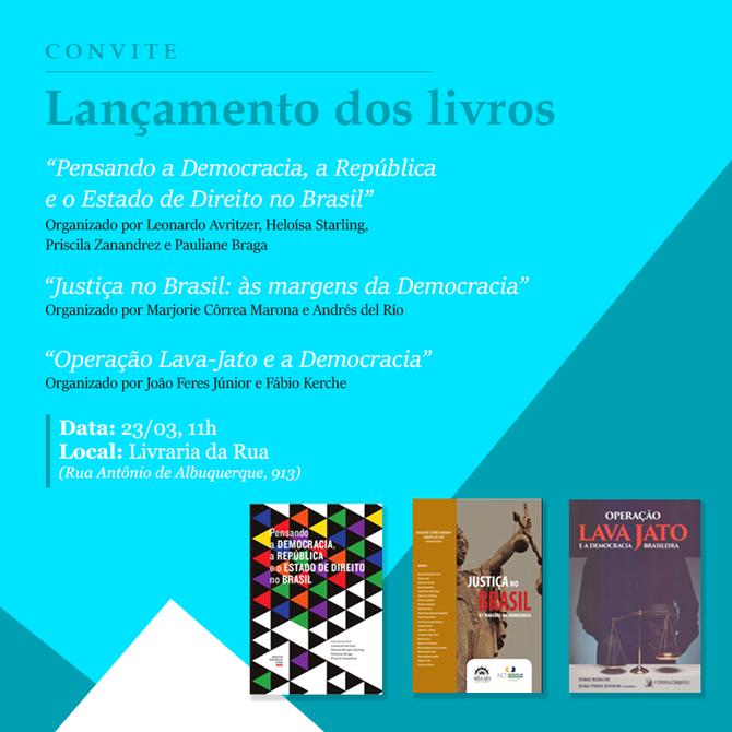 Convite: lançamento de livros de pesquisadores do Instituto da Democracia