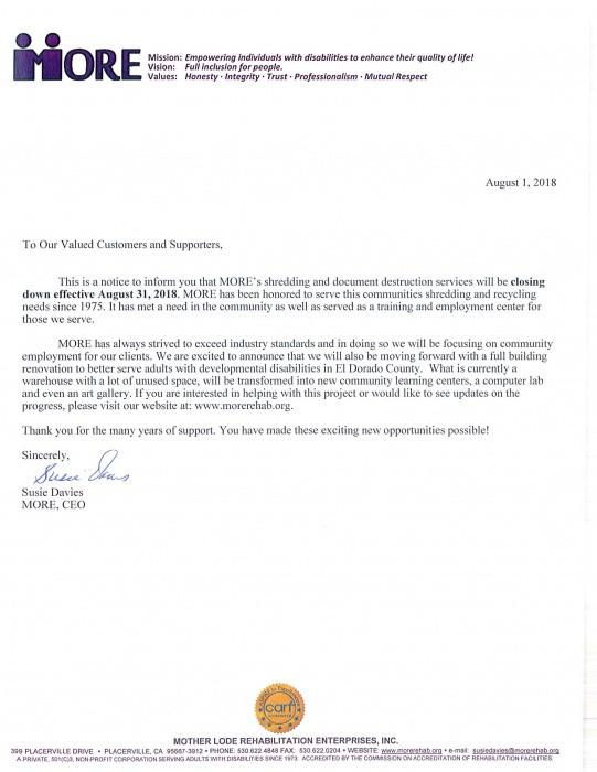 Shredding Services Cancelled