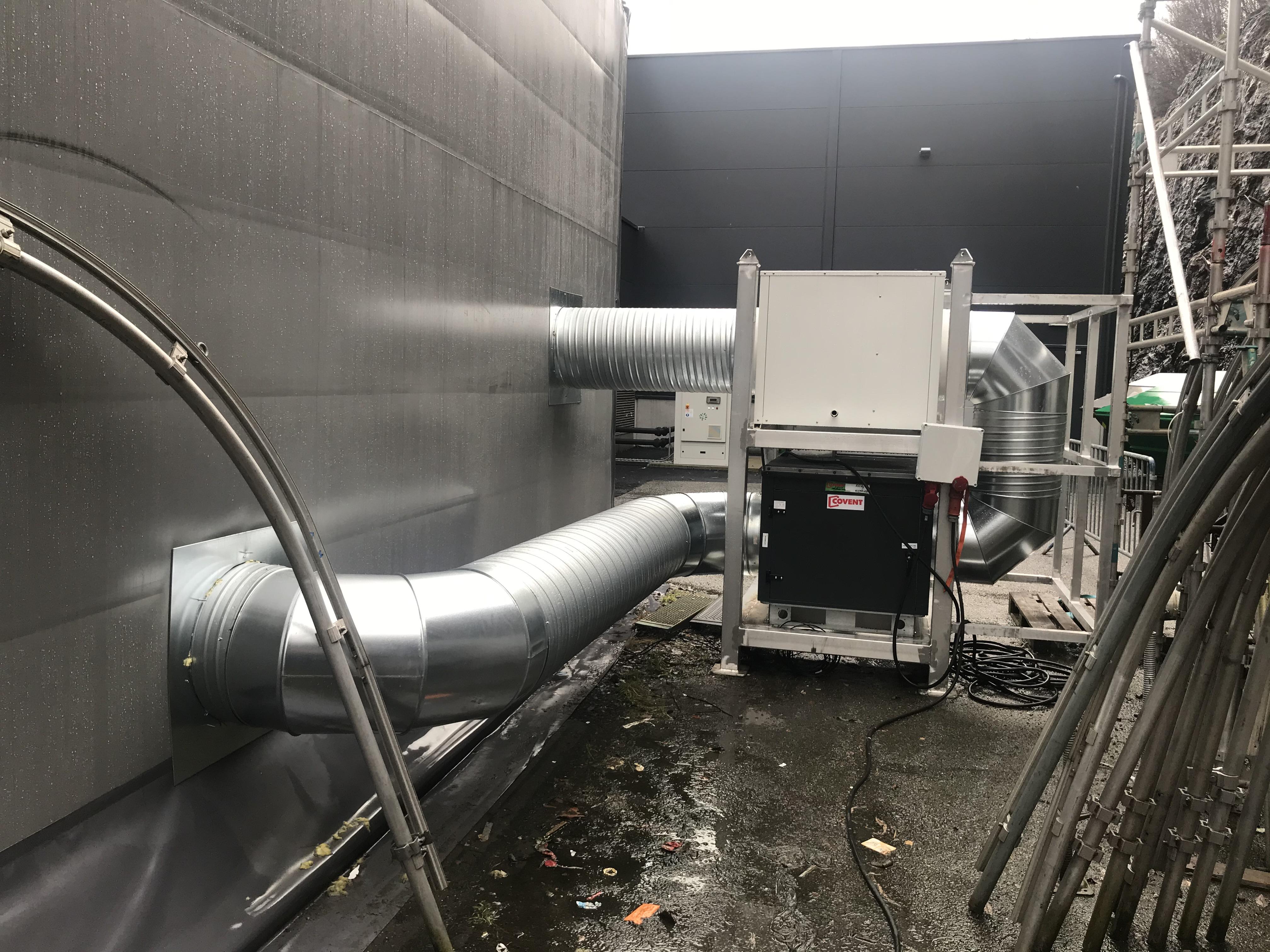 Clovervent tilsluttet tørkehall for pres