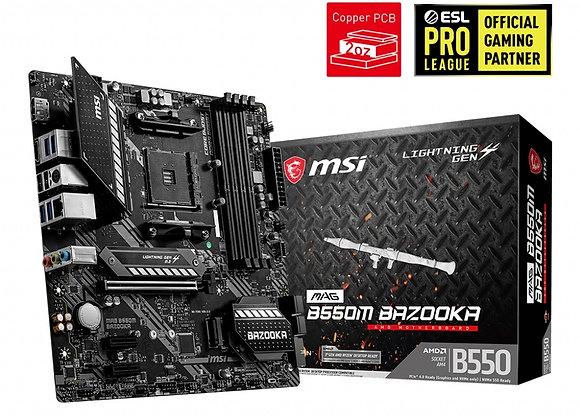 MSI Motherboard MAG B550M Bazooka AMD AM4 B550 Max128GB DDR4 Micro-Atx Retail