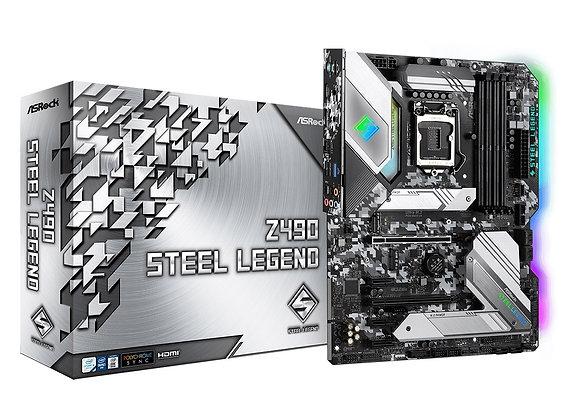 ASRock Motherboard Z490 Steel Legend Intel Processors S1200 Z490 DDR4 128GB Atx