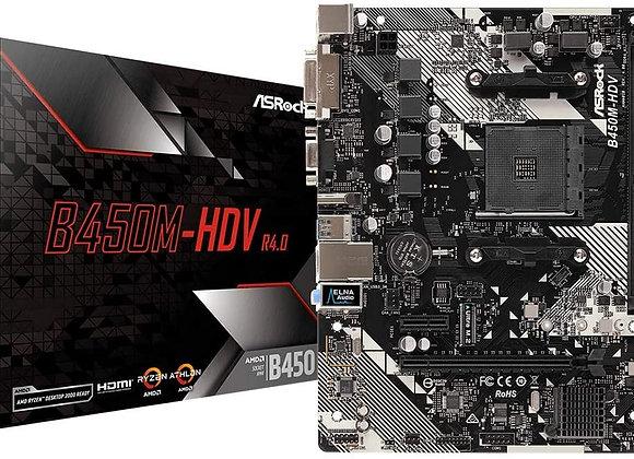 ASRock B450M-HDV R4.0 AM4 AMD Promontory B450 6Gb/s Micro ATX AMD Motherboard