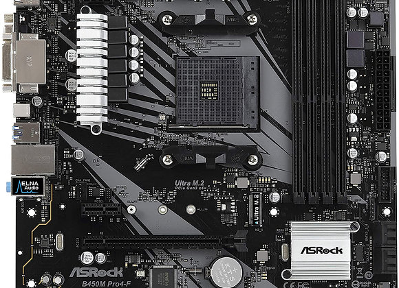ASRock B450M Pro4-F Socket AM4/ AMD Promontory B450/ DDR4/ Quad CrossFireX/ SATA